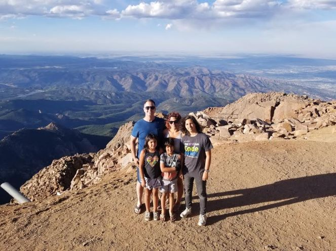 image of webster family on top of pikes peak mountain