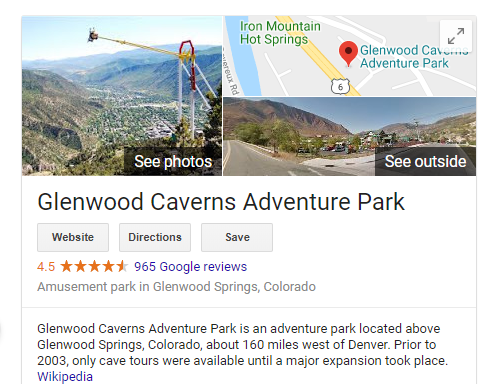 screenshot of google info on Glenwood caverns